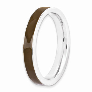 3.25mm Sterling Silver Stackable Brown Enameled Band