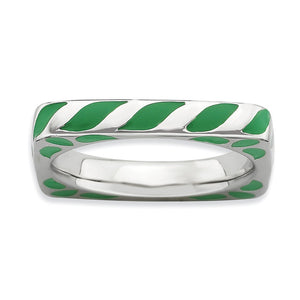 3.25mm Silver and Green Enamel Stackable Square Band - The Black Bow Jewelry Co.