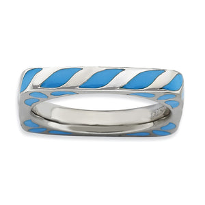 3.25mm Silver and Blue Enamel Stackable Square Band - The Black Bow Jewelry Co.