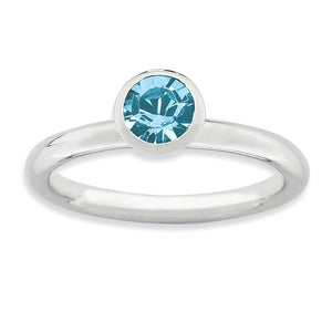 5mm Faceted Light Blue Crystal Sterling Silver Stackable Ring - The Black Bow Jewelry Co.