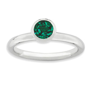 Sterling Silver w/5mm Green Swarovski Crystals High Profile Stack Ring - The Black Bow Jewelry Co.