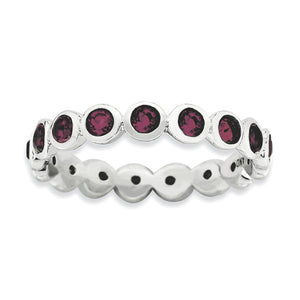 3.5mm Sterling Silver w Purple-Red Swarovski Crystals Stackable Band - The Black Bow Jewelry Co.