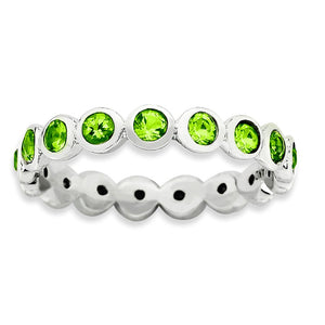 3.5mm Sterling Silver with Lt Green Swarovski Crystals Stackable Band - The Black Bow Jewelry Co.