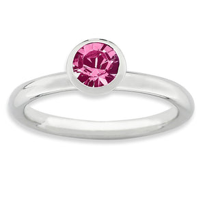 5mm High Profile Sterling Silver w/ Pink Swarovski Crystals Stack Ring - The Black Bow Jewelry Co.