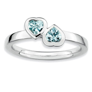 Sterling Silver Stackable Double Heart Aquamarine Ring - The Black Bow Jewelry Co.