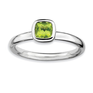 Silver Stackable Cushion Cut Peridot Solitaire Ring - The Black Bow Jewelry Co.