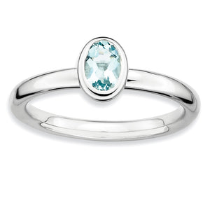 Silver Stackable Oval Aquamarine Solitaire Ring - The Black Bow Jewelry Co.