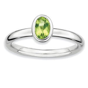 Silver Stackable Oval Peridot Solitaire Ring - The Black Bow Jewelry Co.