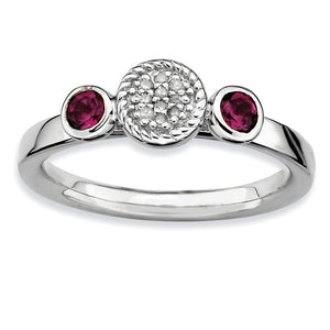 Sterling Silver Stackable Rhodolite Garnet & .05Ctw HI/I3 Diamond Ring - The Black Bow Jewelry Co.