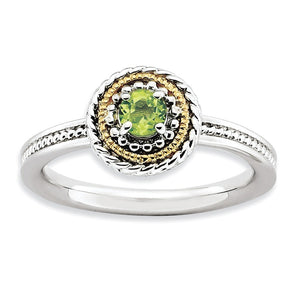 Sterling Silver & 14K Gold Plated Stackable Peridot Ring - The Black Bow Jewelry Co.