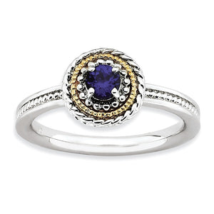 Sterling Silver & 14K Gold Plated Stackable Created Sapphire Ring - The Black Bow Jewelry Co.