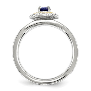 Alternate view of the Sterling Silver & 14K Gold Plated Stackable Created Sapphire Ring by The Black Bow Jewelry Co.