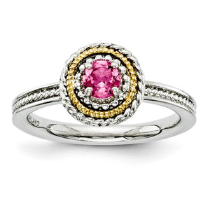 Sterling Silver & 14K Gold Plated Stackable Pink Tourmaline Ring - The Black Bow Jewelry Co.