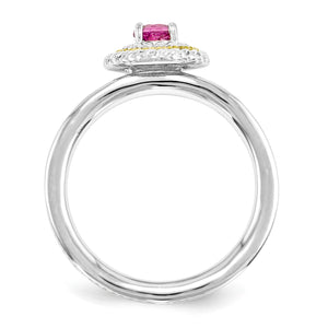 Alternate view of the Sterling Silver & 14K Gold Plated Stackable Pink Tourmaline Ring by The Black Bow Jewelry Co.
