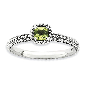 Antiqued Sterling Silver Stackable Peridot Ring - The Black Bow Jewelry Co.