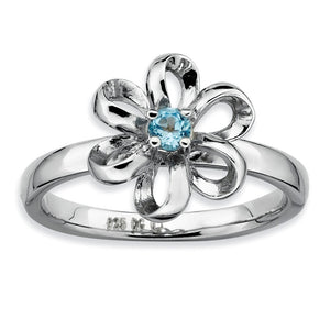 Silver Stackable 12mm 1/10 Carat Blue Topaz Flower Ring - The Black Bow Jewelry Co.