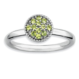 Silver Stackable Round 1/5 Cttw Peridot Ring - The Black Bow Jewelry Co.