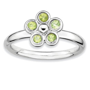 Silver Stackable 1/3 Cttw Peridot Flower Ring - The Black Bow Jewelry Co.