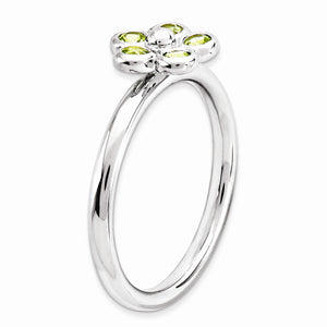 Alternate view of the Silver Stackable 1/3 Cttw Peridot Flower Ring by The Black Bow Jewelry Co.