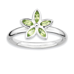 Silver Stackable .41 Cttw Peridot Flower Ring - The Black Bow Jewelry Co.