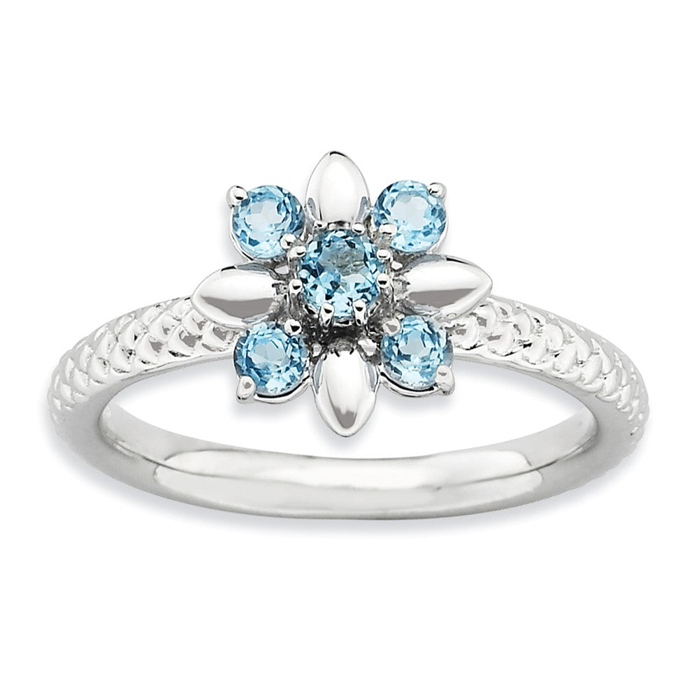 Silver Stackable 1/2 Cttw Blue Topaz Flower Ring - The Black Bow Jewelry Co.