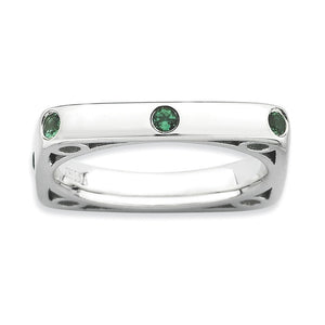 3.25mm Stackable Created Emerald Sterling Silver Square Band - The Black Bow Jewelry Co.