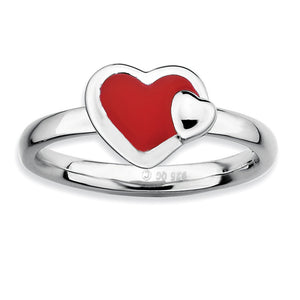 Sterling Silver Stackable Red Enameled Heart Ring - The Black Bow Jewelry Co.