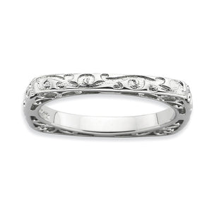 2.25mm Stackable Sterling Silver Square Scroll Band - The Black Bow Jewelry Co.