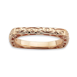2.25mm Stackable 14K Rose Gold Plated Silver Square Scroll Band - The Black Bow Jewelry Co.