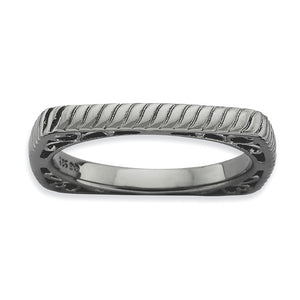 2.25mm Stackable Black Plated Silver Square Grooved Band - The Black Bow Jewelry Co.