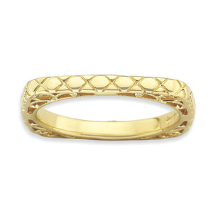 2.25mm Stackable 14K Yellow Gold Plated Silver Square Snake Skin Band - The Black Bow Jewelry Co.