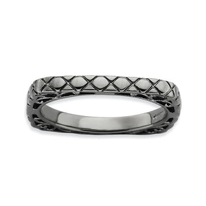 2.25mm Stackable Black Plated Silver Square Snake Skin Band - The Black Bow Jewelry Co.
