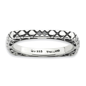 2.25mm Stackable Antiqued Sterling Silver Square Snake Skin Band - The Black Bow Jewelry Co.