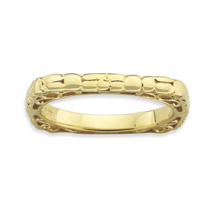 2.25mm Stackable 18K Yellow Gold Plated Silver Square Band - The Black Bow Jewelry Co.