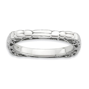 2.25mm Stackable Sterling Silver Square Cobblestone Band - The Black Bow Jewelry Co.