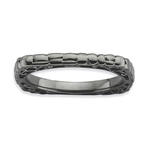 2.25mm Stackable Black Plated Silver Square Cobblestone Band - The Black Bow Jewelry Co.