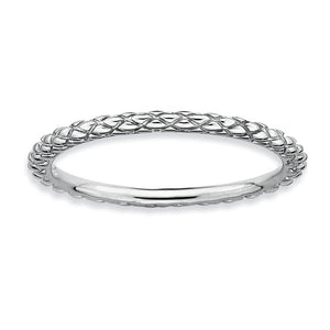 1.5mm Stackable Sterling Silver Crisscross Band - The Black Bow Jewelry Co.