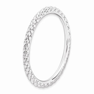 1.5mm Stackable Sterling Silver Crisscross Band