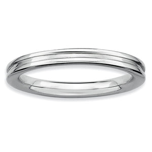 2.25mm Stackable Sterling Silver Grooved Band - The Black Bow Jewelry Co.
