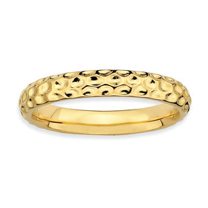 3.25mm Stackable Hammered 14K Yellow Gold Plated Silver Band - The Black Bow Jewelry Co.