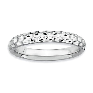 3.25mm Stackable Sterling Silver Hammered Band - The Black Bow Jewelry Co.