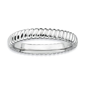 3.25mm Stackable Sterling Silver Fluted Band - The Black Bow Jewelry Co.