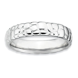 4.5mm Stackable Sterling Silver Cobblestone Band - The Black Bow Jewelry Co.