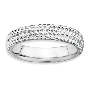 4.5mm Stackable Sterling Silver Wheat Band - The Black Bow Jewelry Co.