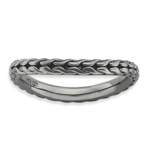 2.25mm Stackable Black Plated Silver Curved Wheat Pattern Band - The Black Bow Jewelry Co.