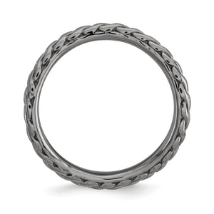 Alternate view of the 2.25mm Stackable Black Plated Silver Curved Wheat Pattern Band by The Black Bow Jewelry Co.
