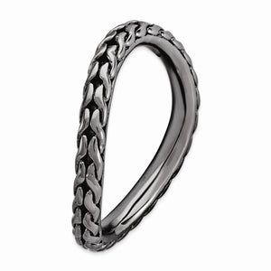 2.25mm Stackable Black Plated Silver Curved Wheat Pattern Band