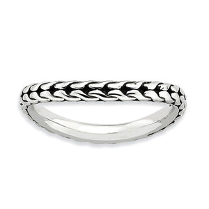 2.25mm Stackable Antiqued Sterling Silver Curved Wheat Pattern Band - The Black Bow Jewelry Co.