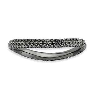 2.25mm Stackable Black Plated Silver Curved Band - The Black Bow Jewelry Co.