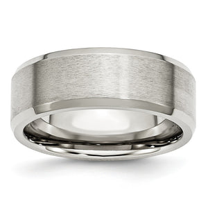 Stainless Steel Flat Beveled Edge 8mm Comfort Fit Band - The Black Bow Jewelry Co.